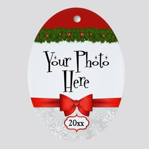 Christmas Holly Custom Photo Oval Ornament